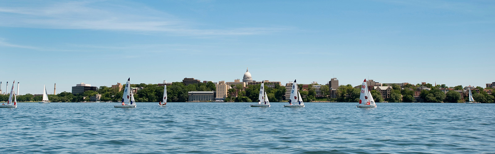 Hoofer sailboats sail on Lake Mendota with the state capitol building in the background.
