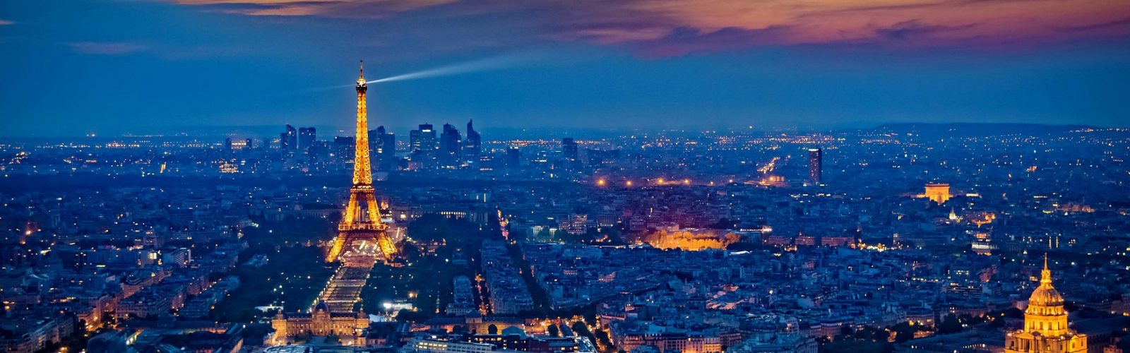 Aerial view of Paris, France, at night.