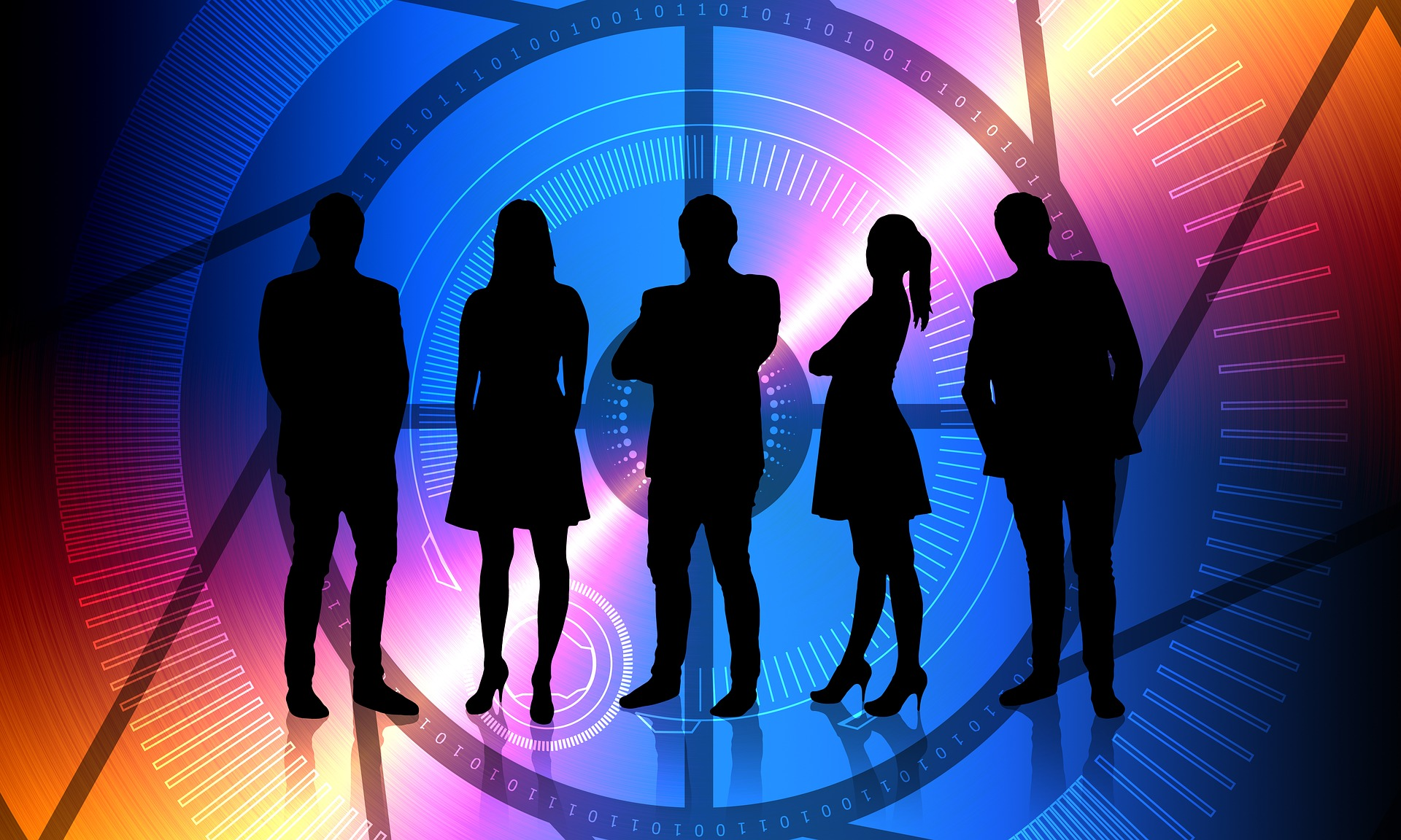 Image featuring five silhouettes in business attire.