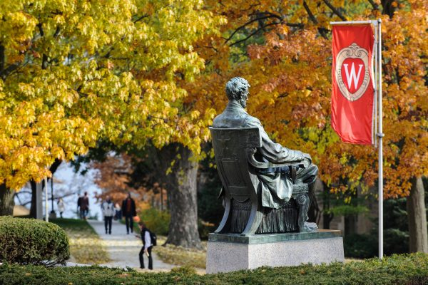 The Abraham Lincoln statue remains sentinel to the changing seasons on Bascom Hill at the University of Wisconsin-Madison as the tree foliage continues to change colors during autumn.