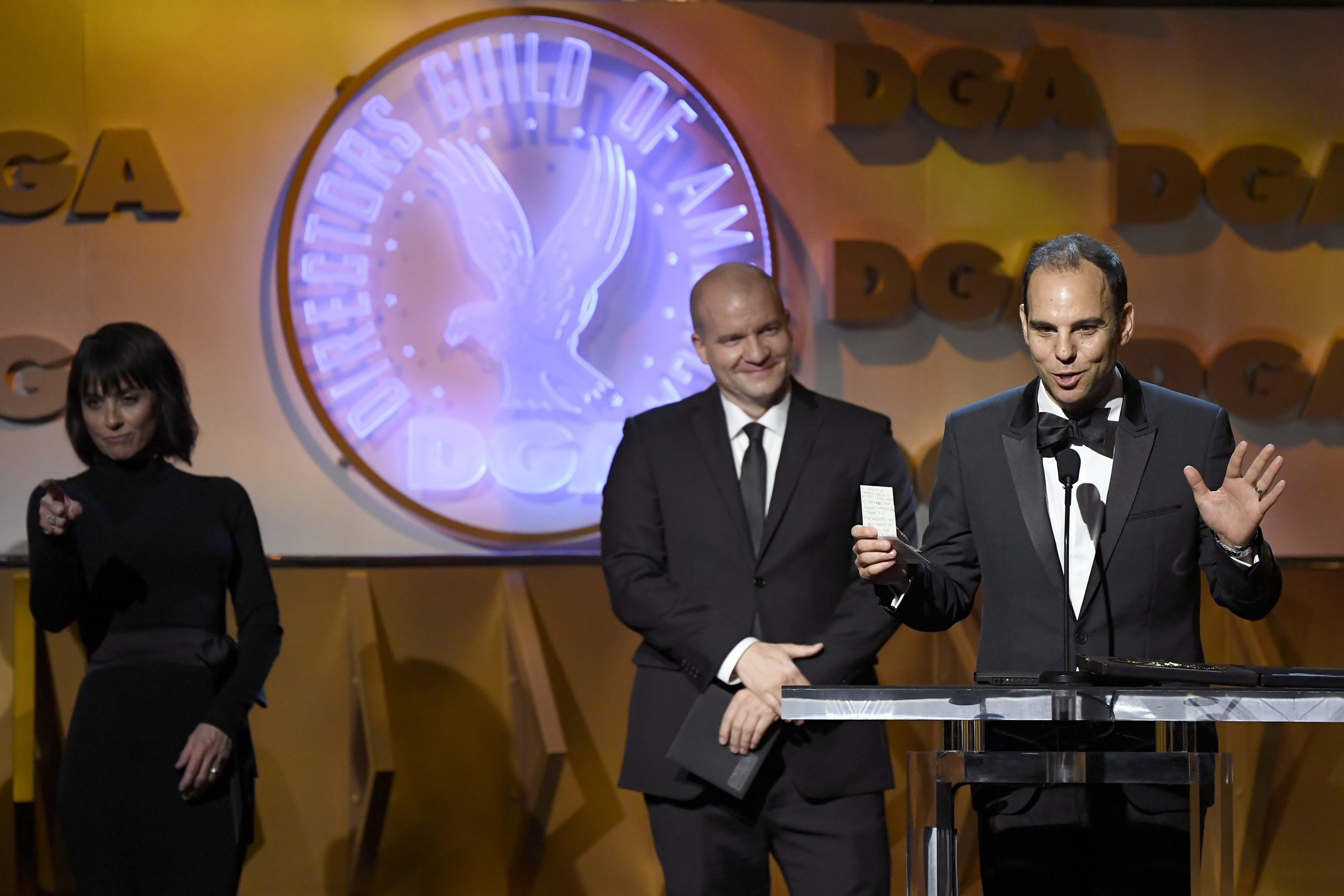 LOS ANGELES, CALIFORNIA - JANUARY 25: Daniel Shultz (C) and Jason Cohen (R) accept Reality Programs for ''Encore!' onstage during the 72nd Annual Directors Guild Of America Awards at The Ritz Carlton on January 25, 2020 in Los Angeles, California. (Photo by Kevork Djansezian/Getty Images)