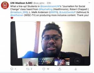 Tweet screenshot showing guest speakers in Journalism for Social Change class, showing a panel of experts visiting the class via video conference