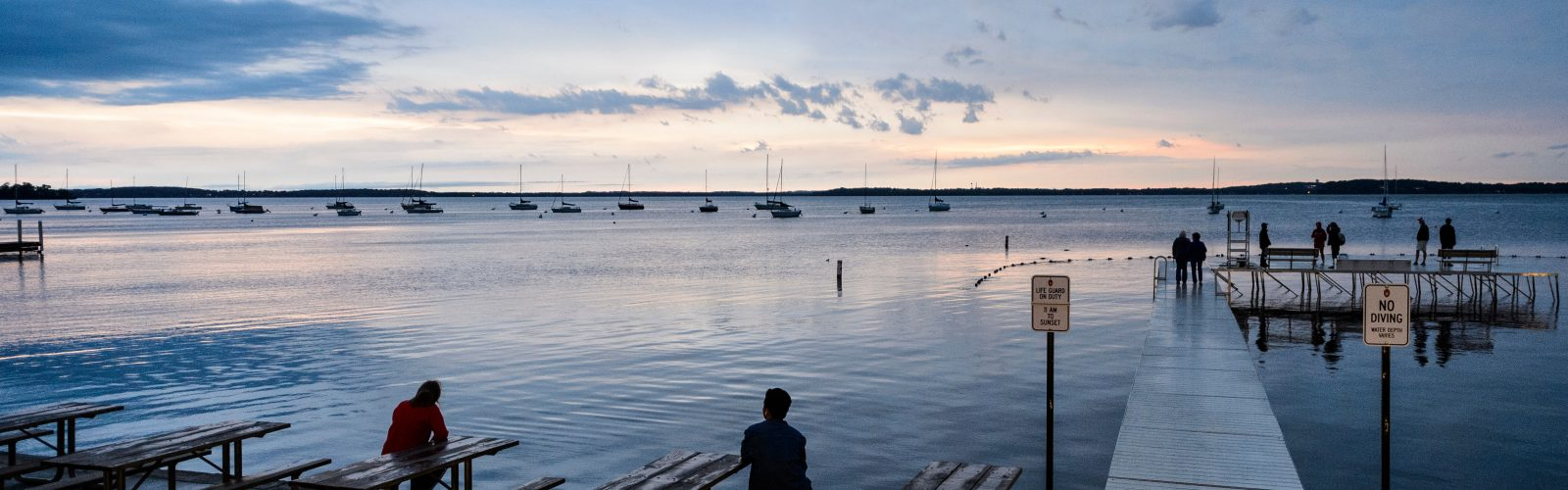 Lake Mendota from the Union Terrace at dusk
