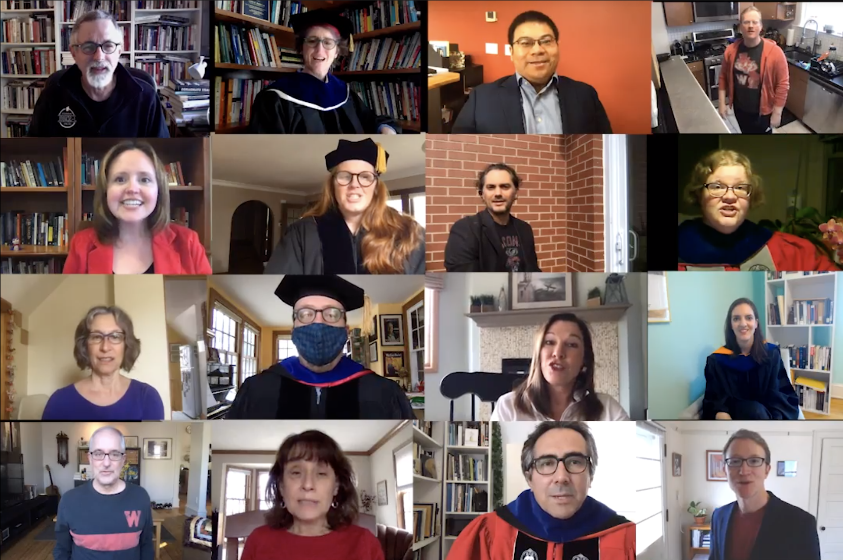 Screen shot from video showing multiple faculty and instructors in videos recorded at home.