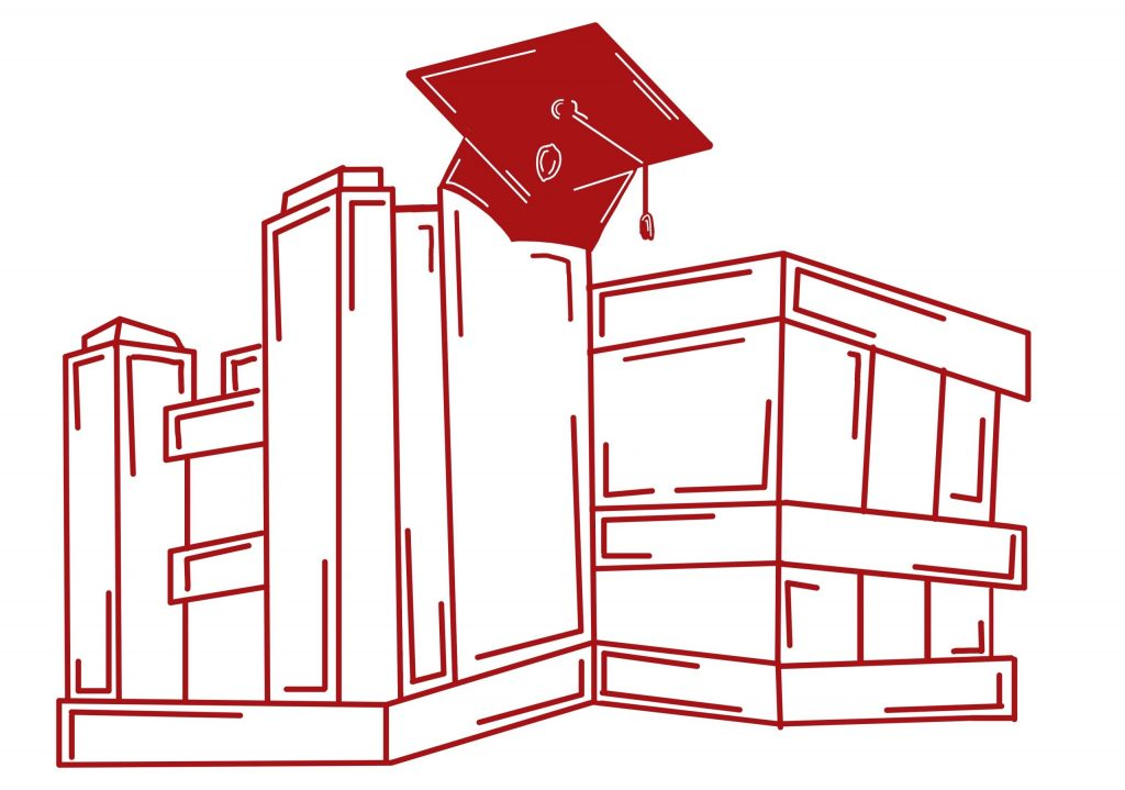 Illustration of Vilas Hall with a grad cap on top