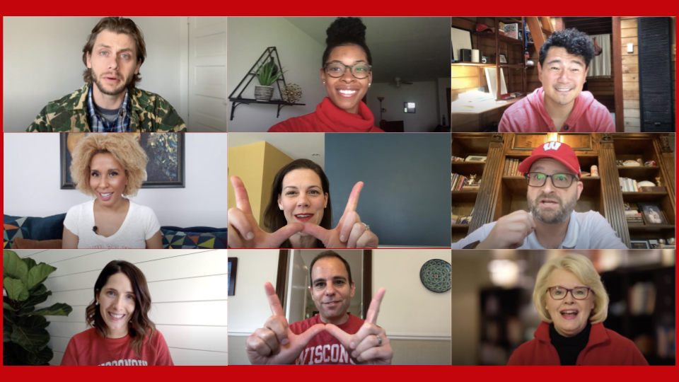 Slide showing screen shots of nine alumni giving their video messages