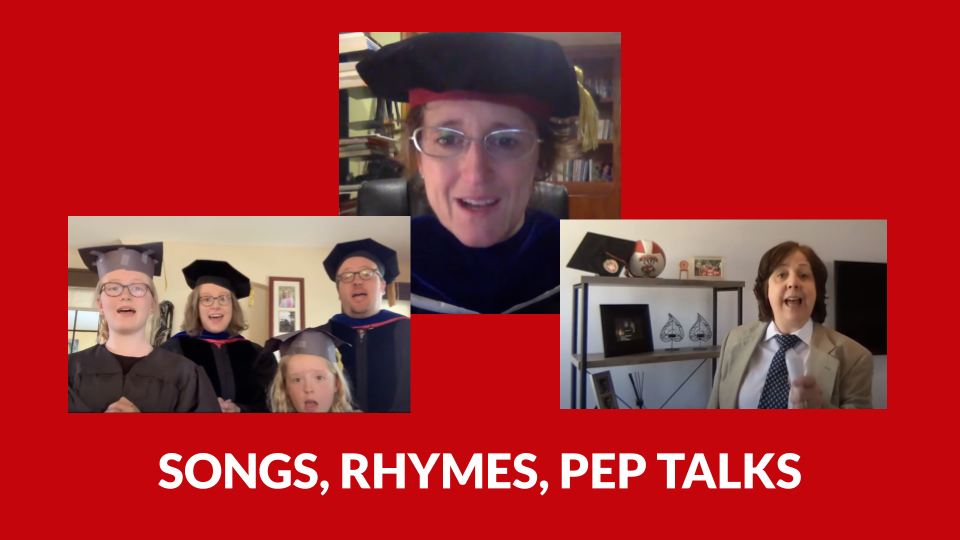 "Slide showing screenshots from fun faculty videos with text ""songs, rhymes, pep talks"""