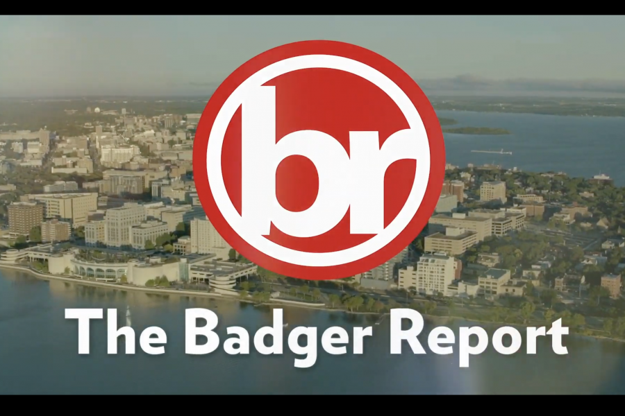 The Badger Report logo, the letters b and r in a red circle, over an aerial photo of the Madison skyline