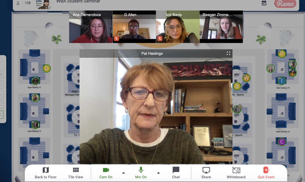 Screenshot of a virtual meeting platform featuring Pat Hastings and several SJMC students and alums.