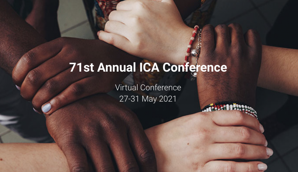 """five hands holding each others' wrists in a circle with text """"71st Annual ICA Conference Virtual Conference 27-31 May 2021"""""""
