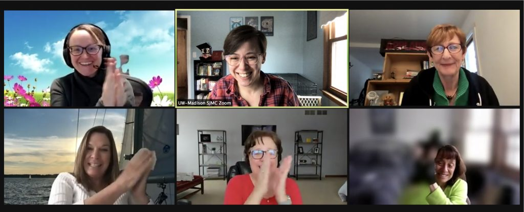 A screenshot of a Zoom meeting with six participants from the Public Engagement Committee clapping and smiling.