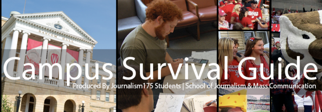 The banner image from the Campus Survival Guide blog, which includes a photo of Bascom Hall, a group of students studying, and students at sporting events with Bucky Badger.