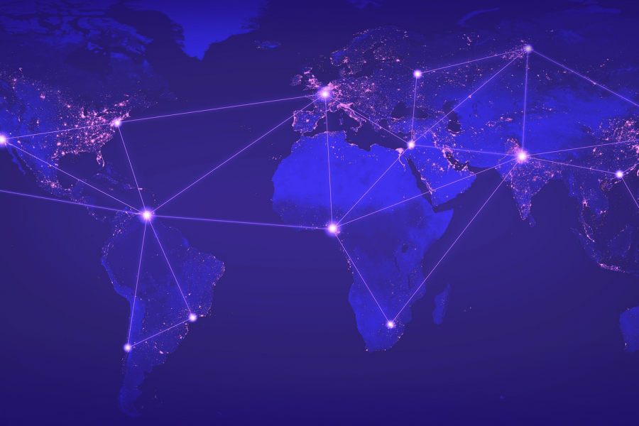 A world map showing connections between major cities.