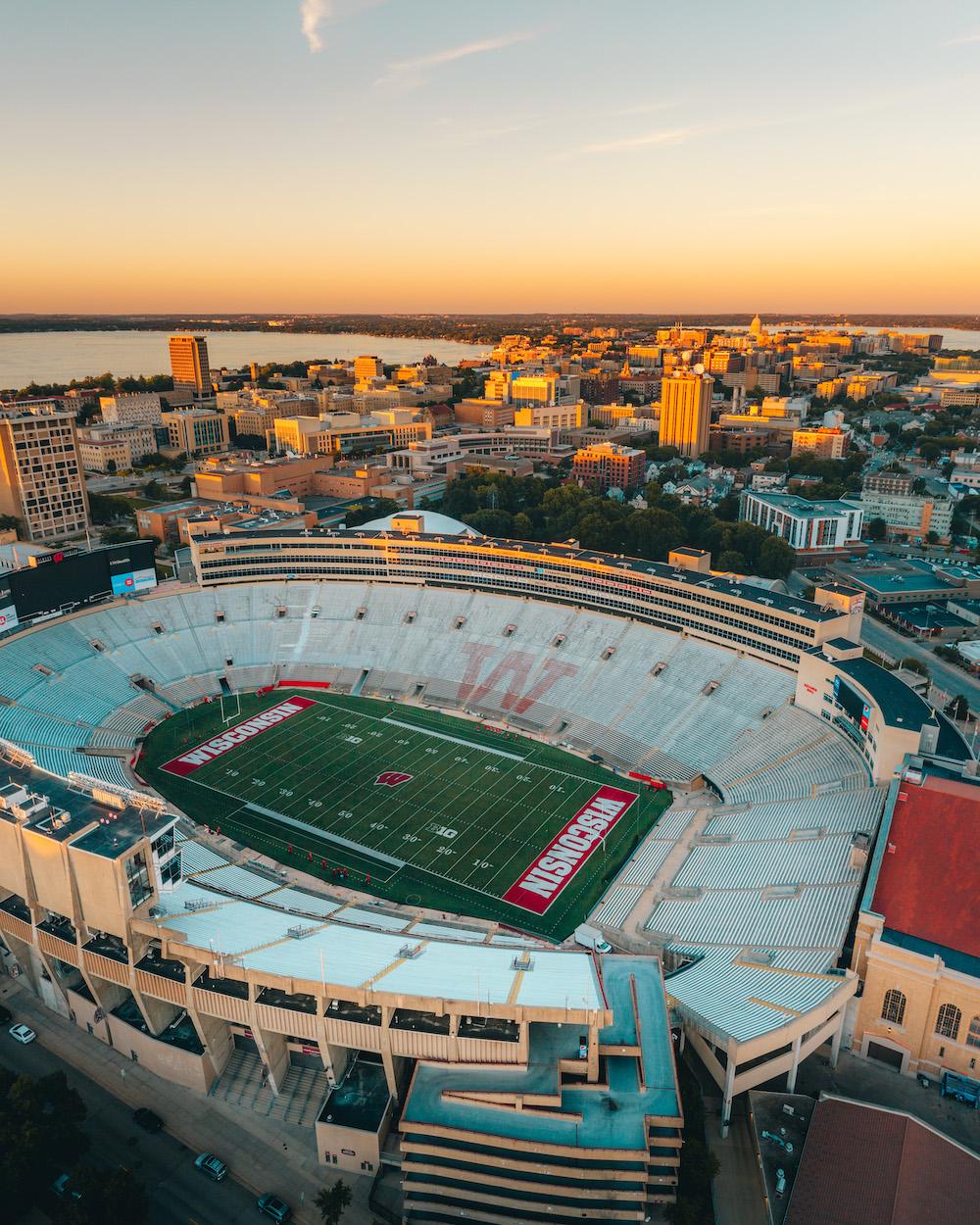 Aerial photo of Camp Randall Stadium and the UW-Madison campus