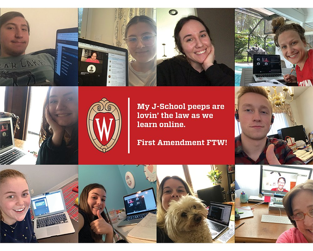 """A collage of selfies of students attending a media law class remotely, with text """"My J-School peeps are lovin' the law as we learn online. First Amendment FTW!"""""""