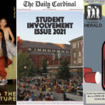 The covers of The Black Voice's Capturing the Culture magazine, and two print editions of the Daily Cardinal and The Badger Herald