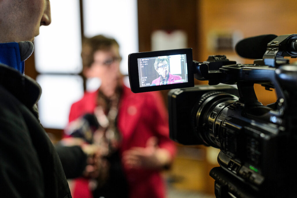 UW-Madison Chancellor Rebecca Blank is pictured on a video camera monitor