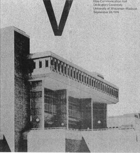 Check out the program from the Vilas Communication Hall Dedicatory Ceremony, held on Sept. 20, 1974. (Eagle eyes will recognize some of the furniture pictured, which is still in use in Vilas today.)